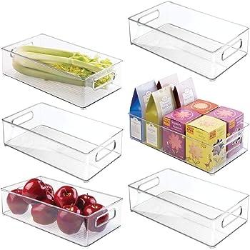 mDesign Juego de 6 bandejas de plástico para frigorífico o ...