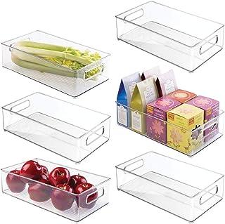 mDesign Juego de 6 bandejas de plástico para frigorífico o congelador – Cajas apilables con asas para almacenar alimentos y bebidas – Prácticos organizadores de nevera sin tapa – transparente