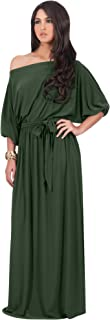 KOH KOH Womens Long Sexy One Shoulder Flowy Casual 3/4 Short Sleeve Maxi Dress