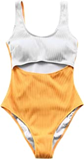 Women's White and Yellow Cut Out Color Block One-Piece Swimsuit