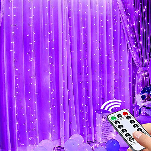 LED Curtain Fairy Lights,3mx3m USB 300 Led Fairy String Curtain Lights with 10 Hooks, Remote Timer Waterproof Window Lights for Wedding Party Garden Teen Kid's Room Bedroom Decor - Purple