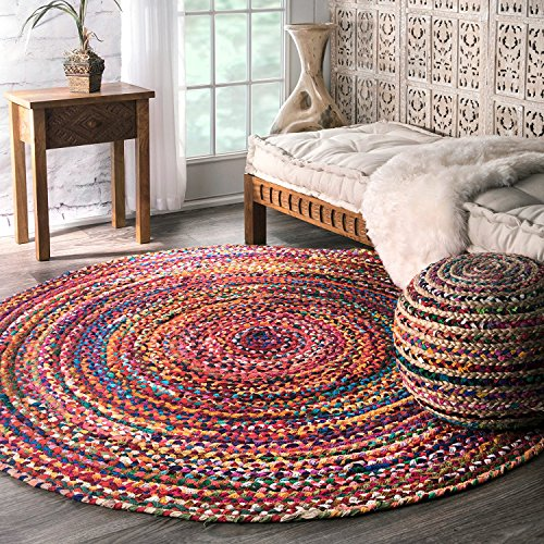 Aakriti Indian Boho Rag Rug Cotton Handmade Patch Rug Jute for The Living Room, Dining Room, Bedroom (Multicolor Round, 90 cm)