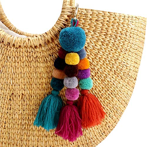 """Size:Total length approx 10"""" Each item contains 3 colors tassles and 13 pom poms. This colorful cotton pompom tassel keychain is a lively way to identify your keys. Great to Decorate your purse, tote or backpack with this trendy pom pom tassel bag ch..."""