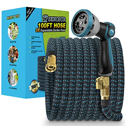 SENOSUR Expandable Garden Hose 100FT, Flexible Water Hose with 10 Function Nozzle, Leakproof Lightweight Expanding Durable Hose, Collapsible Outdoor Hose for Lawn Car Pet Washing