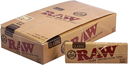 Raw Unrefined Classic 1.25 1 1/4 Size Cigarette Rolling Papers Full Box of 24 Packs