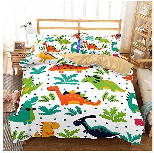 NEWAT - Set di biancheria da letto per bambini, con copripiumino e federe, motivo: stampa di graziosi dinosauri in stile cartone animato, 2020 (A5, 200 x 200cm)