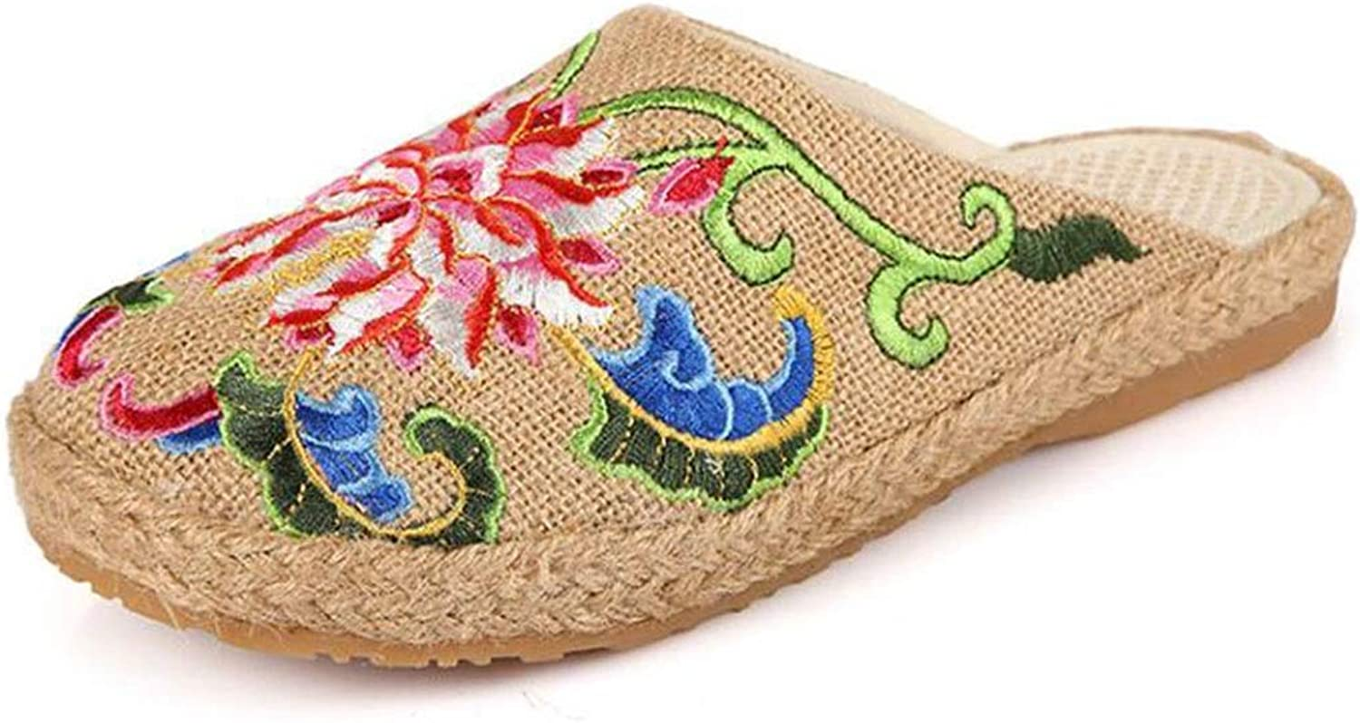 Fabric Sandals Slippers Ladies Slippers Ethnic Style Retro Slippers (color   Beige, Size   230)