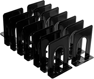 Metal Bookend, Economy Nonskid Heavy Duty Bookends for Shelves Office Black 6.69 x 4.9 x 4.3in, 7 Pair/14 Piece