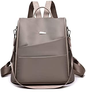 Solid Color Oxford Cloth Backpack Travel School Shoulder Bag Daypack (Color : Khaki)