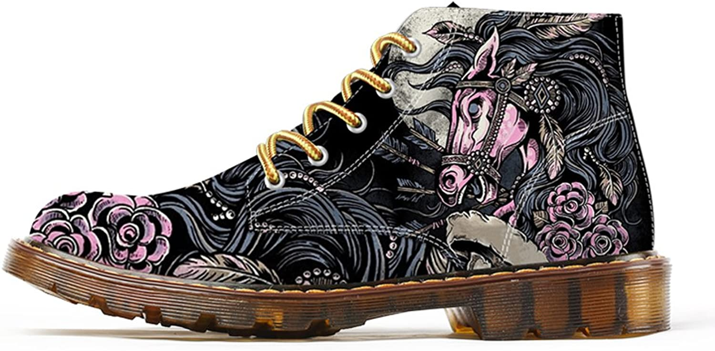 FIRST DANCE Fashion Mens Horse Printed Martins Boots for Men Black Steet shoes Men Black Ankle Boots