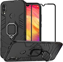 BetterAmy for Xiaomi Redmi Note 7 / Redmi Note 7 Pro Case,Hybrid Heavy Duty Armor Dual Layer Anti-Scratch Shockproof Defender Back Case Cover Tempered Glass Screen Protector,Black