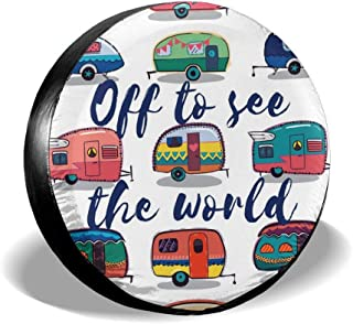 Art-Capital Spare Tire Cover Happy Camper Off to See The World Polyester Wheel Storage Cover for 14