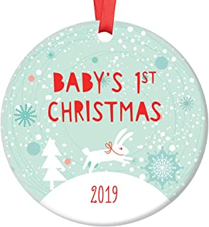 Cute Baby Boy First Christmas Ornament 2019 Adorable Bunny Rabbit New Mommy & Daddy's Infant Son 1st Holiday Season Ceramic Keepsake Present 3
