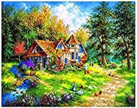 5D DIYダイヤモンド塗装キット、別荘の風景、フルダイヤモンドラウンドラインストーン刺繡、家の壁の装飾用30x40cm
