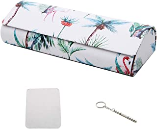 Hard Shell Eyeglass Case,PU Leather Vintage Pattern Glasses with Cleaning Cloth Mini Screwdriver