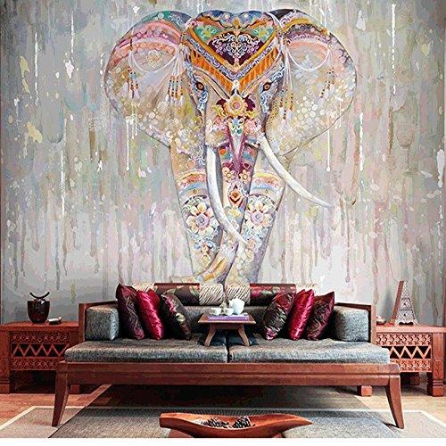 Wongxl Die Südostasiatische Handgemalte Indische Elefant Videos Wand Hotel Tapete Thai Yoga Center Wand 3D Tapete Hintergrundbild Fresko Wandmalerei Wallpaper Mural 350cmX300cm