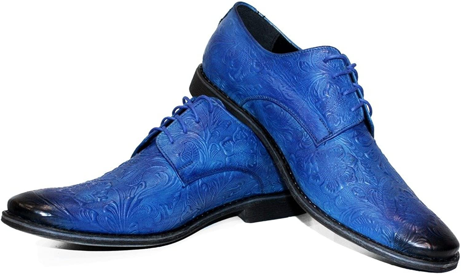 Modello Espressio - Handmade Italian Leather Mens color bluee Oxfords Dress shoes - Cowhide Embossed Leather - Lace-Up