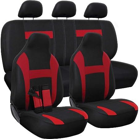 Amazon Com Autoyouth Car Seat Covers Universal Fit Full Set Car Seat Protectors Tire Tracks Car Seat Accessories 9pcs Black Red Automotive
