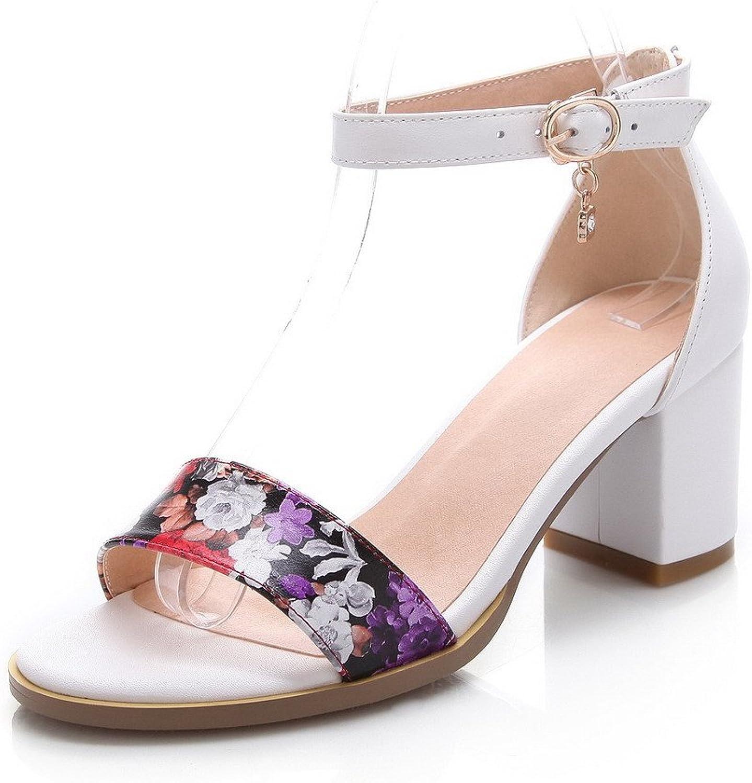 WeenFashion Women's Cow Leather Assorted color Buckle Open Toe Kitten-Heels Sandals