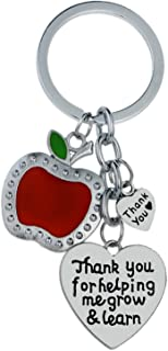 Teacher Appreciation Gifts for Women Thank You for Helping me Grow and Learn Keychain Heart Charms Key Chains