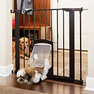 """North States MyPet 39"""" wide Petgate Passage: Secure gate with small lockable pet door. Pressure Mount. Fits 29.75"""" - 39"""" wide (30"""" tall, Matte Bronze)"""