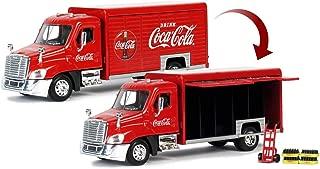 Coca-Cola 1/50 Beverage Delivery Truck with 2 Sliding Doors, Handcart and 2 Bottle Cases