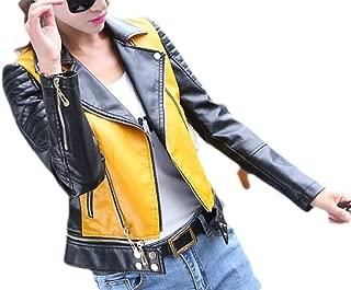 Macondoo Womens Faux Leather Coat Zipper Motorcycle Lapel Collar Short Jacket