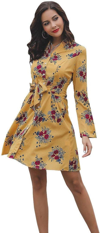 Ladies Dress Women Dress Floral Print Cocktail Vintage Retro Dresses Elegant Midi Evening Dress Mini Dress (color   Yellow, Size   M)