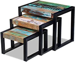 Festnight 3 Set of Tables Nesting Tables Coffee Table Side Dinner Table Dispaly Stand Living Room Bedroom Furniture Solid ...