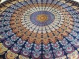 AB India Crafts Mandala india tradicional para playa, picnic, festivales, decoración, 100% algodón, redondo, 180 cm, color azul y morado
