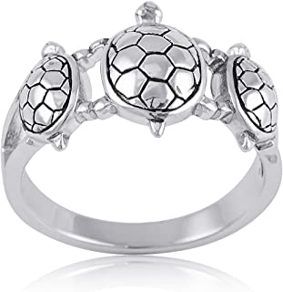 Sterling Silver 10mm Turtles Ring (Size 5-10)
