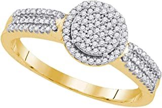 10k Yellow Gold Diamond Fashion Band OR Engagement Ring Round Shaped Halo Ring (1/5 cttw.)