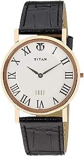 ساعة تيتان ايدج للرجال بمينا ابيض وبسوار جلدي - T1595WL01