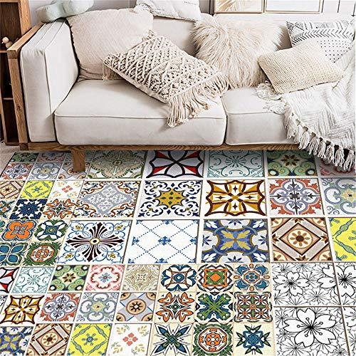 WQ-BBB Super Lujoso Moqueta Diseño de Mosaico Cuadrado de Estilo étnico Retro Alfombra De Diseño Moderna patrón Tradicional Colorido fácil de Mantener Lavable Aposentoes Moqueta 80X120cm