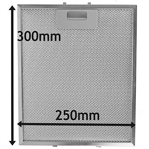 SPARES2GO Metalen gaasfilter voor ATAG afzuigkap/afzuigkap Ventilator (zilver, 300 x 250 mm)