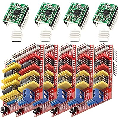 AZDelivery 5 x CNC Shield V3.0 Expansion Board Bundle, 4PCS A4988 Stepper Motor Drivers with 4PCS Heatsink Kits compatible with 3D Printer and Arduino Including E-Book!