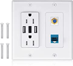 2 Power Outlet 15A with Dual 2.4A USB Charger Port Wall Plate with LED Lighting, IQIAN 1 CAT6 RJ45 Ethernet + Coaxial Cable TV F Type Keystone Face Plate White