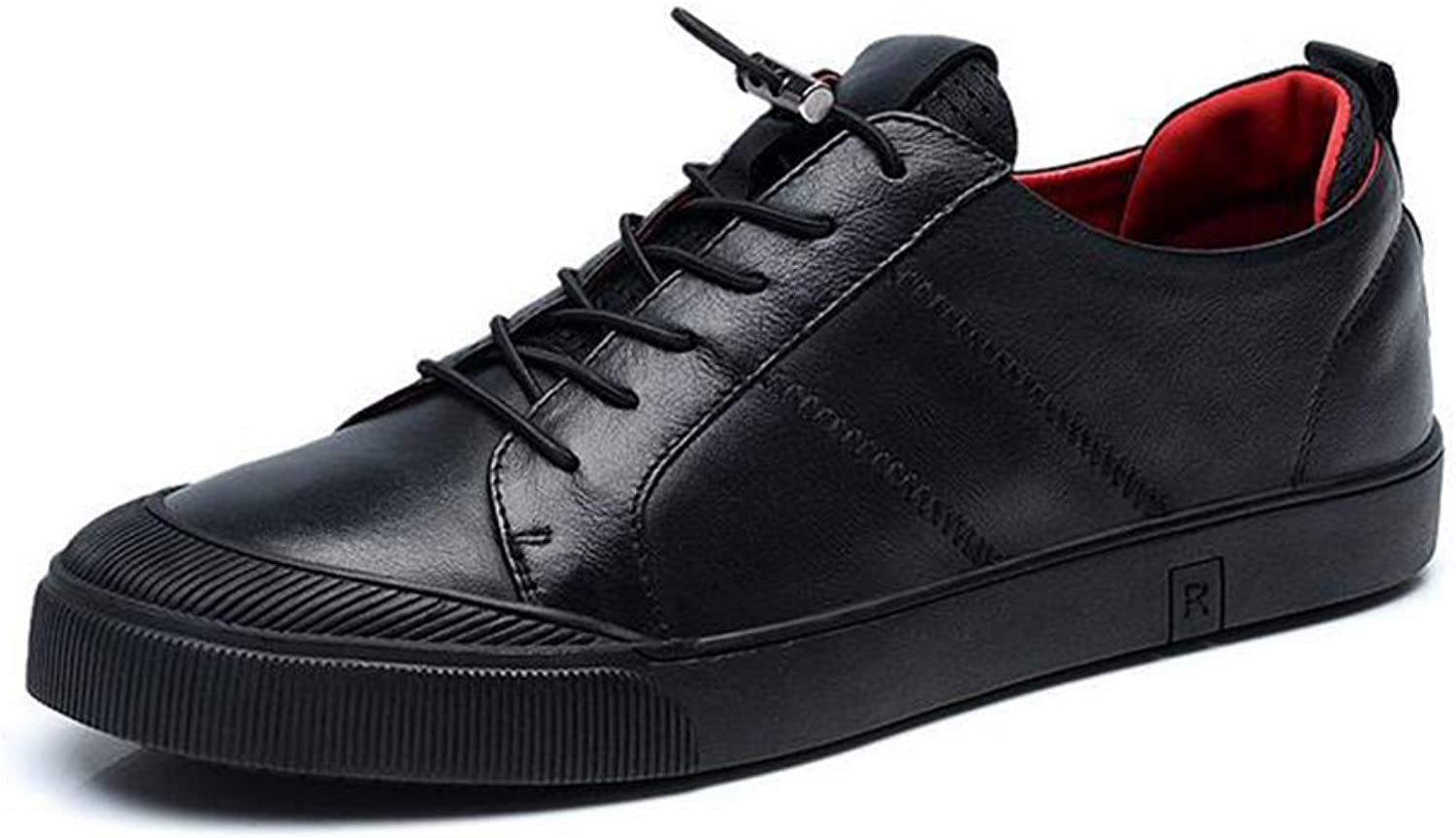 HUAN Mens Casual shoes Leather Deck shoes Lace-up Flat Loafers Sneakers Comfort Driving shoes