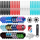 CyeeLife Set d'accessoires pour fléchettes - 36 ailettes + 24 tiges en PVC + 50 anneaux en métal +...