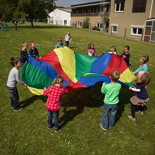 Sport-Thieme Schwungtuch Standard für Kinder, Familie, Sport   Durchmesser 7m   20 eingenähte Handgriffe   Regenbogen bunt   Für drinnen und draußen