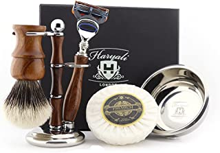 Zestaw do golenia, 5 szt. szczotka do golenia włosów borsuk drewniany uchwyt i stojak na szczotkę do golenia ze stali nier...