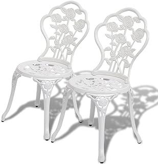 vidaXL 2x Bistro Chairs White 41x49x81.5 cm Cast Aluminium Outdoor Dining Seat