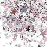 60 g Confeti de Estrella de Papel Metálico para Decoración de Boda Fiesta de Despedida a Soltera (Dorado Rosado y Plateado)