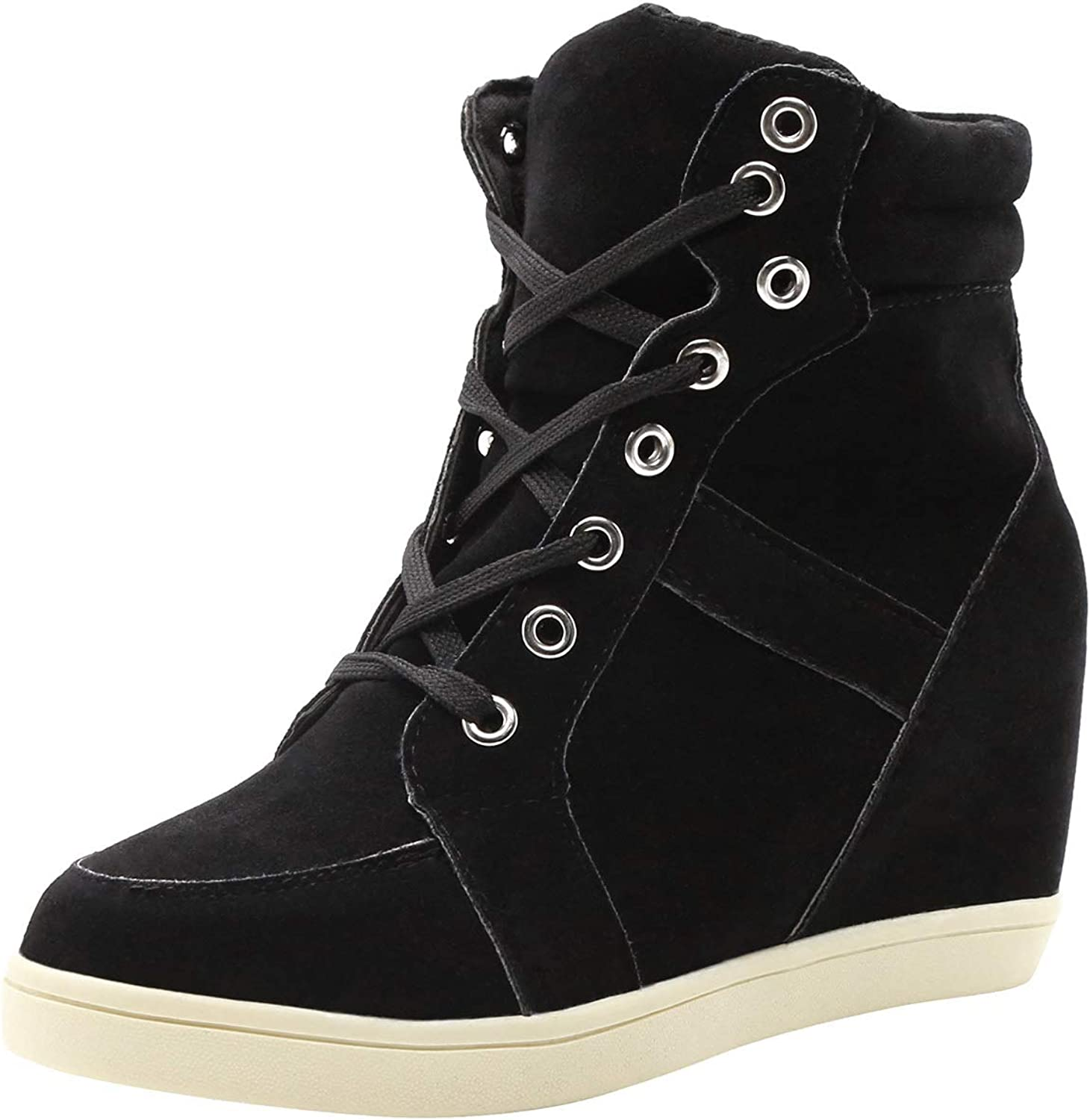 T&Mates Womens Casual Round Toe High Top Lace up Hidden Wedge Nubuck Fashion Sneaker