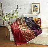 Shanna Manta de chenilla, vintage con borlas de Jacquard de doble cara, manta en diseño de retales, cálida decorativa para el hogar, oficina, viajes, Tíbet Rojo, 86.6*98.4in