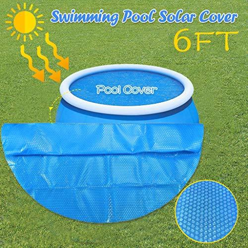 SomeTeam Runder Pool Solarabdeckung Schutz, Solarfolie Poolheizung Solarabdeckplane 6ft Fuß über dem Boden Protection Swimmingpool Blau,183X183CM(6ft)