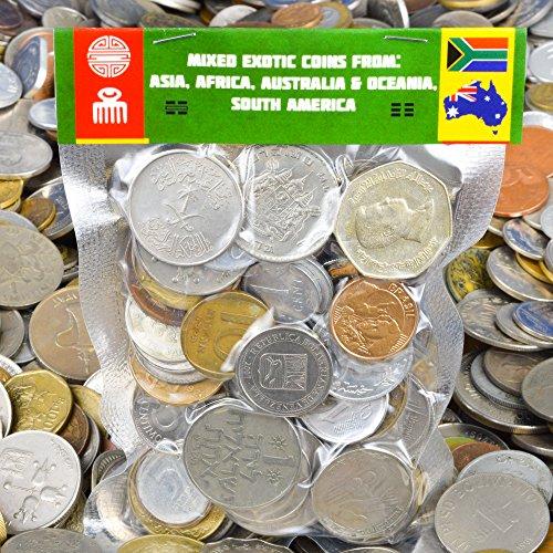 100 monete esotiche provenienti da Asia, Medio Oriente, Africa, Oceania, Sud America. Monete da collezione, vecchie monete per album di moneta, moneta bancaria o supporti della moneta