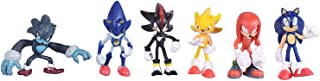 Max Fun Set of 6pcs Sonic the Hedgehog Action Figures, 5-7cm Tall Cake toppers-Sonic, Shadow, Werehog, Metal Sonic, Knuckles & Super Sonic