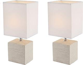 Globo Lighting - Juego de 2 lámparas de mesa elegantes (base de cerámica beige, pantalla de tela blanca)