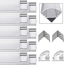 Jirvyuk 10 Pack 0.5M/ 1.64 ft Perfil de Aluminio LED para Luces de Tira del LED con Cubierta Blanca Lechosa, Los Casquillos de Extremo y los Clips de Montaje del Metal-Plata (01)